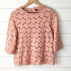 J Crew Collection Pink Lace 3/4 Sleeve Blouse M